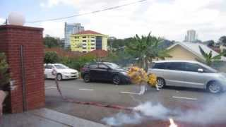 Loud Fire Crackers and Lion Dance to Welcome a Happy Chinese New Year of the Horse 2014 in Malaysia