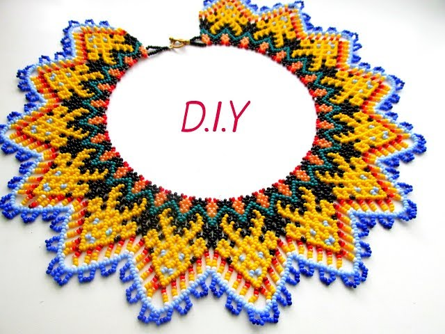 Tutorial. A beaded necklace. Beading.D.I.Y
