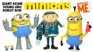 Despicable Me Minions Giant Kevin Young Gru & Robot Bob UnBoxing Deluxe Action Figures