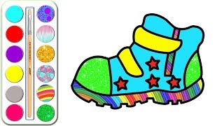 Children's Shoes Coloring with Glitters   Coloring pages and learn colors for kids