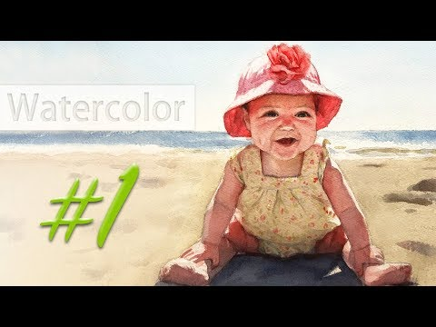 Portrait of a baby girl - watercolor painting step by step #1