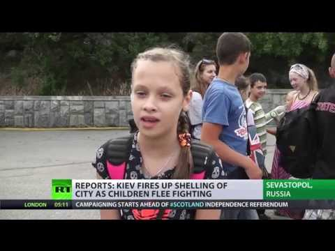 Kids evacuated from Slavyansk, E.Ukraine to escape Kiev's shelling