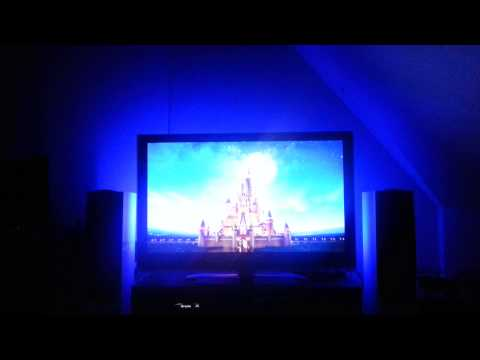 Modified XBMC running AmbiPi and Light Controller, Raspberry Pi with custom PixelPi: Lion King intro