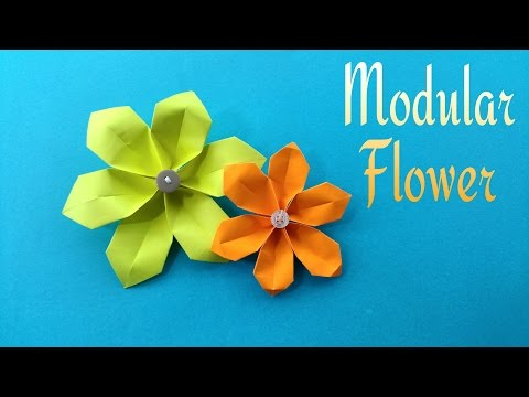 "How to make a easy paper ""Modular Flower"" for Mother's Day - Origami Tutorial"