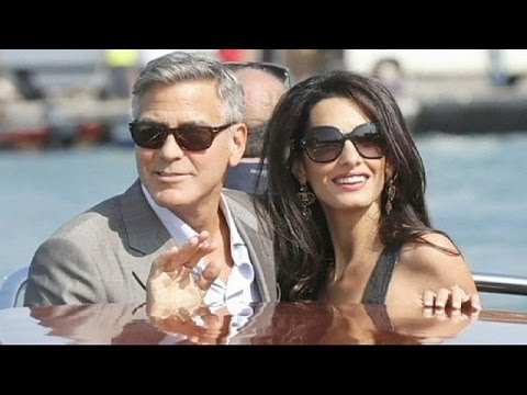 George Clooney arrives for Venice wedding