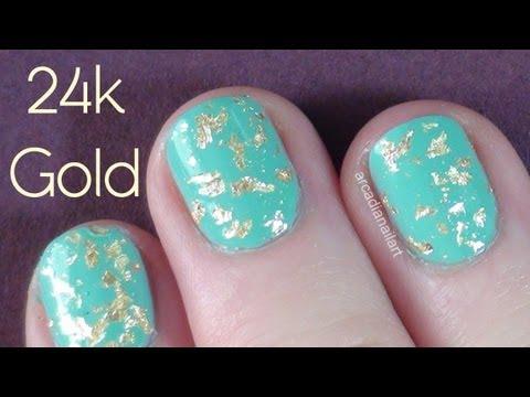 DIY Gold Leaf Nails - 24 Carat Gold