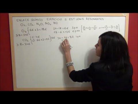 QUÍMICA Enlace Ejercicio 5 - Estructuras Lewis formas resonantes NO, NO2, N2O, CO2, O3