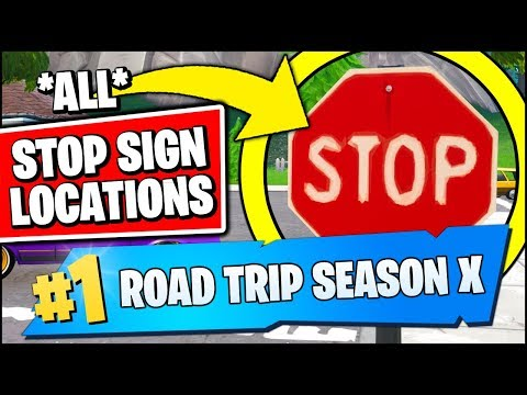 DESTROY STOP SIGNS WITH THE CATALYST OUTFIT *ALL LOCATIONS* (Fortnite Season X ROAD TRIP Challenges)