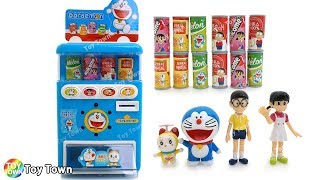 Doraemon Coin Mini Vending Machine Dispenser Beverage Toys with Figure for Kids ドラえもん 도라에몽 말하는 자판기