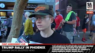 Buzzfeed tries to interview internet anime Nazi at phoenix trump rally
