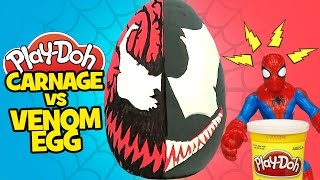 Spiderman vs Venom vs Carnage Superhero Battle Play-Doh Surprise Egg w/ Spiderman Toys & Marvel Toys