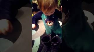 Jackson baby wearing boots