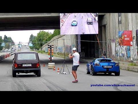 500 HP Opel Speedster Turbo vs 600 HP Lada Niva drag race