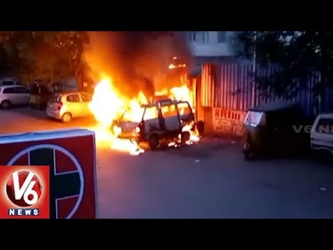 Two Cars Catch Fire While Gas Refilling In Padmarao Nagar | Hyderabad | V6 News