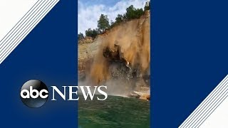 Kayakers avoid injury as cliff crashes into Lake Superior | ABC News