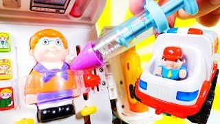Ambulance toy, Kids doll and Doctor toys play