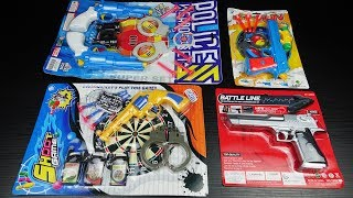 Unboxing 4 Toys! Toy Guns Toys - Police Weapon Set and Colorful Toy Pistol Equipment