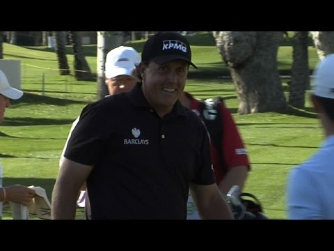 Phil Mickelson holes bunker shot at Humana Challenge