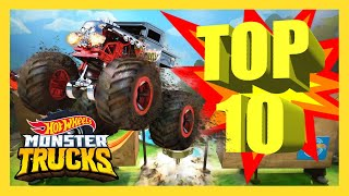 TOP 10 MONSTER TRUCK SLAMS! | Monster Trucks | Hot Wheels