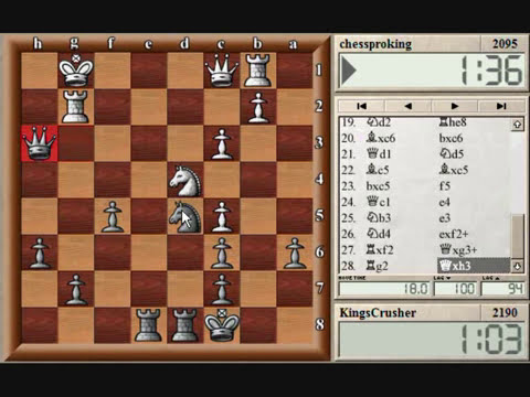 Chess World.net: Blitz #57 vs. chessproking (2095) - French Defence - Kings Indian Attack (C00)