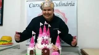 Bolo castelo da Barbie  -  Barbie castle cake