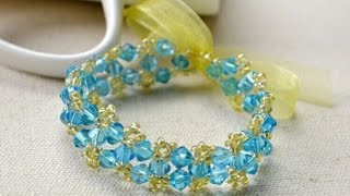 How to Make a Simple Crystal Bracelet with Ribbon for Beginners