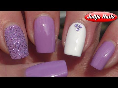 Дизайн ногтей с блестками и стразами видео