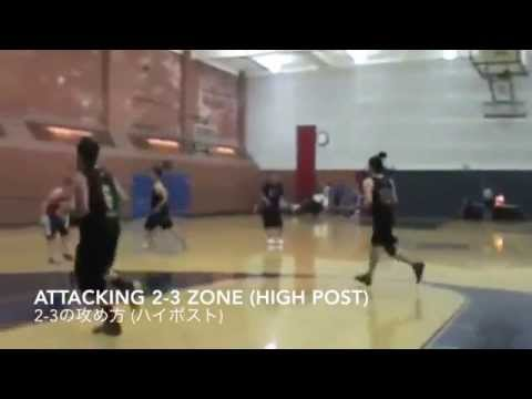 Attacking 2-3 zone defense. (High post)