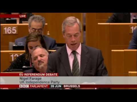 Nigel Farage in EuroParl on Brexit, MEPs not laughing now!