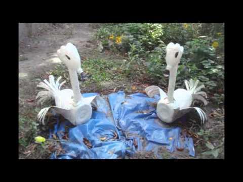 Поделки из пластиковых бутылок для сада и огорода фото и описание лебедь 55