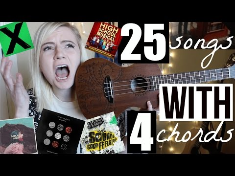 4 chords, 25 songs on UKULELE