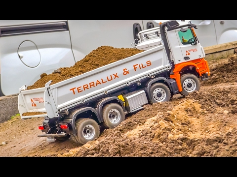 AWESOME RC trucks and more in ACTION! SCANIA! MERCEDES AROCS!