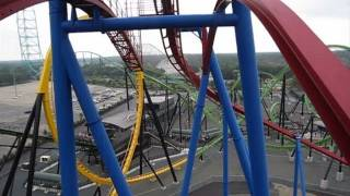 Superman Ultimate Flight roller coaster six flags great adventure front pov