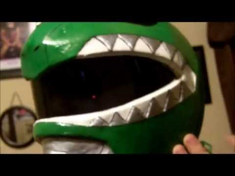 Mighty Morphin Power Ranger Cosplay Pepakura Green Ranger Helmet