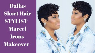 Dallas Short Hair Salon styles pixie cut with marcel irons