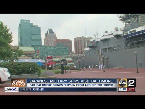 Japanese ships cruise into Baltimore Inner Harbor
