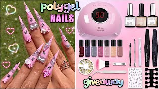 MODELONES testing Starter Kit with Cute Lamp! POLYGEL Nails Easy + GIVEAWAY