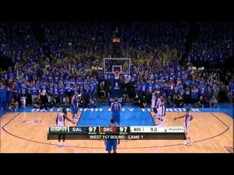 NBA Exciting Last Minute Thunder Vs Mavericks Playoff Game 1 OKC 99 vs DAL 98 Download the match video at : http://is.gd/mIVabt The second-seeded Thunder pla...