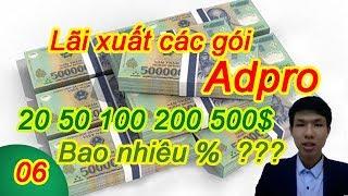 Lợi nhuận của 50 100 200 500 gói quảng cáo Future adpro - bảng tính lãi xuất gói quảng cáo adpro