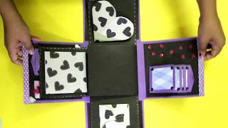 Explosion Box   Valentines Day or Anniversary Gift   Black and Purple   DIY Handmade Crafting Idea