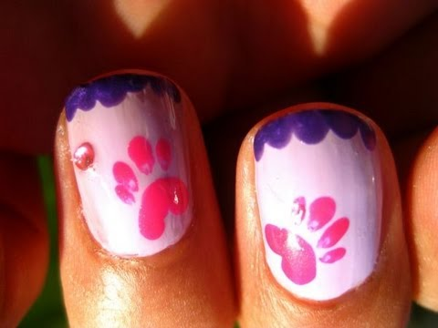 GIRLY PAW PRINT NAIL TUTORIAL