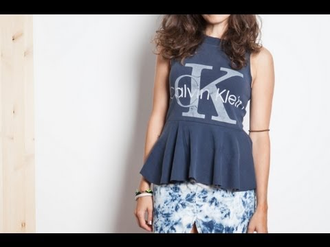 DIY peplum top from a men s tee-shirt - upcycling tutorial