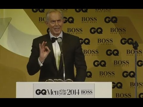 Tony Blair picks up GQ Philanthropist of the Year award