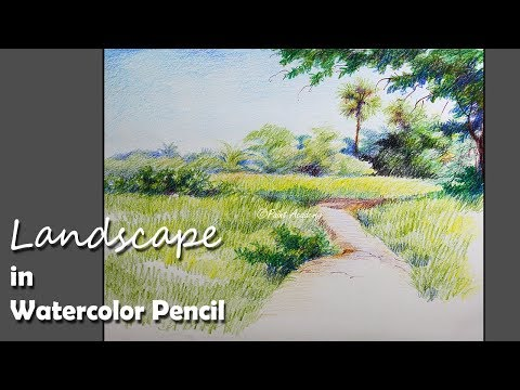 Landscape Painting in Watercolor Pencil | step by step
