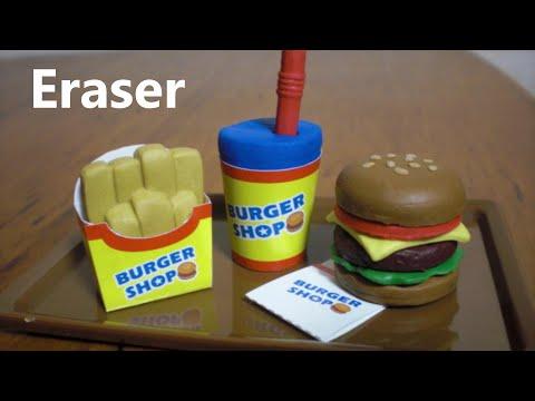Burger shaped eraser making kit [eng sub]