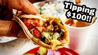 BEST Mexican Street Food TACOS - Tipping $100 Dollars - EXTREME Barbacoa Taco