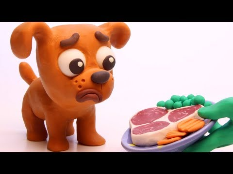 Puppy dog 💕Superhero Play Doh Stop motion cartoons for kids