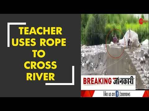 Morning Breaking: Teacher crosses river by using rope in Pithoragarh