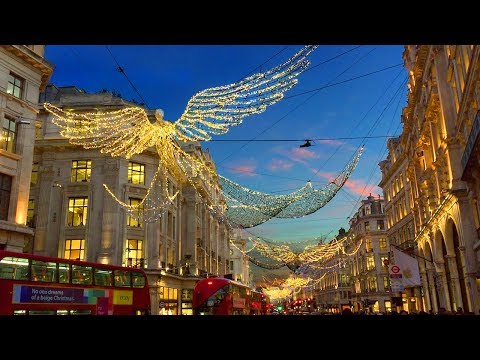 London Walk - Regent Street Christmas Lights and Xmas Window Displays - England, UK