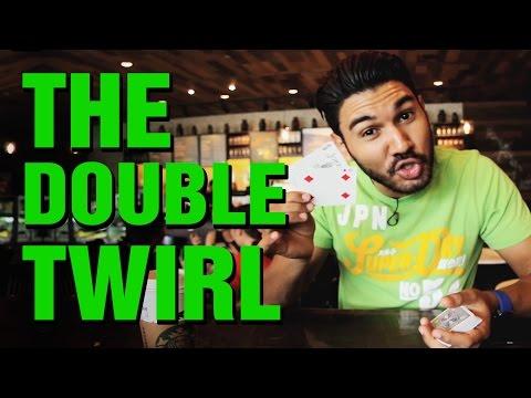 Free Magic Card Trick: Card Flourishes: The Double Twirl Card Sleight!